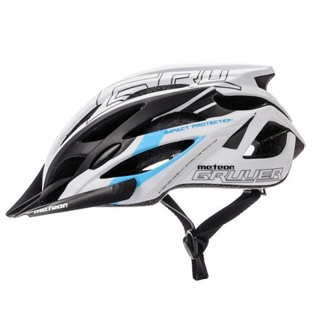 KASK ROWEROWY METEOR GRUVER M WHITE/BLACK BLUE